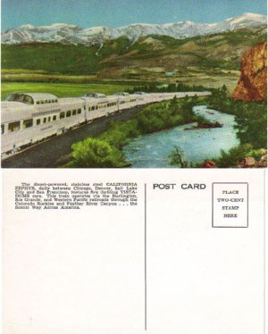 Vintage Railroad Postcard, California Zephyr RR3