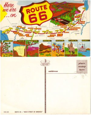 Here We Are on Route 66 Postcard #PC61