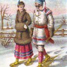 "SOAPINE Trade Card ""Snowshoeing"", ca. 1880's, TC22"