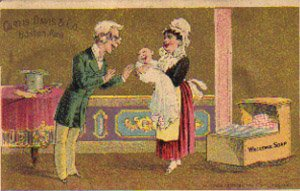 "CURTIS DAVIS & CO. ""Welcome Soap"" Trade Card, ca. 1880's, TC32"