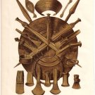"""Weapons, Ornaments and Implements of the Norsemen""   Color Plate,  BP12"