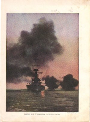 British Ship in the Dardanelles Color Plate WWI,  BP36