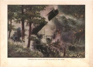 French Gun in Battle of Somme Color Plate WWI,  BP37