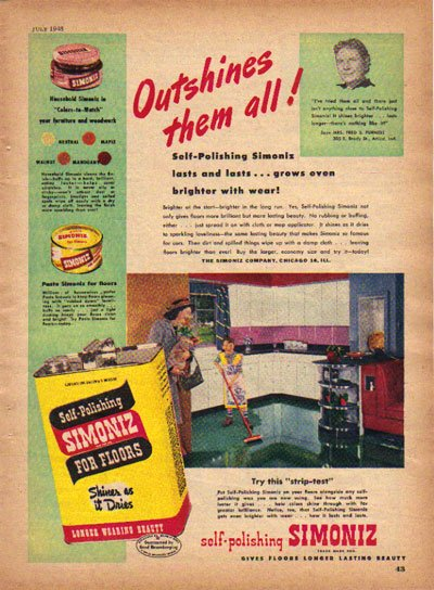 Self Polishing SIMONIZ Ad, 1948, Aad3