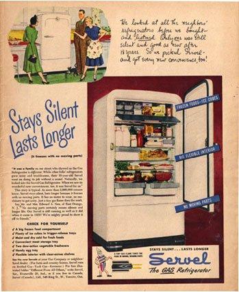 1948 LOOK Servel Gas Refrigerator Ad Willard Battery AD127