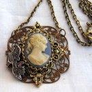 Re-purposed Upcycled Pendant Cameo, RJ4