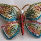 Vintage Enamel and Rhinestone Butterfly Brooch, VJ1