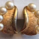 Vintage Trifari Gold Tone and Pearl Clip Earrings, VJ6