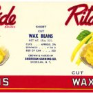 Rita's Pride Cut Wax Beans color label, LAB3