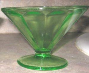 Green Depression Glass Federal Sherbet, set of 2, DG2
