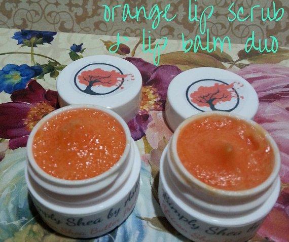Orange Lip Scrub & Lip Balm Duo ALL NATURAL Sugar Lips || Organic || All Natural || Handmade