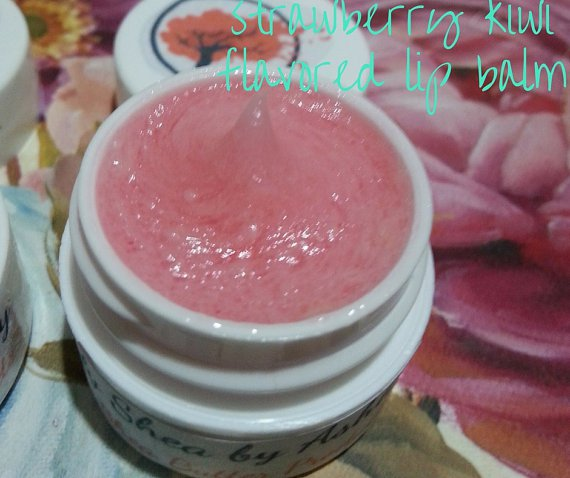 Strawberry Kiwi Flavored Shea Butter Lip Balm  || Moisturizing Lip Balm || All Natural || Handmade