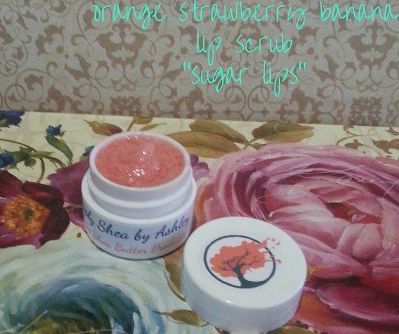 Orange Strawberry Banana flavored Sugar Lips lip Scrub ||  All Natural || Handmade