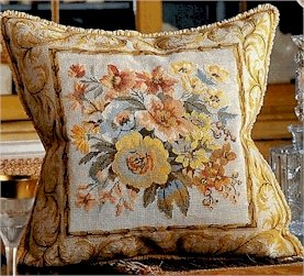 Versailles Flowers Ivory Cushion Needlepoint Kit by Glorafilia (gl5003)