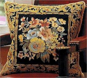 Versailles Flowers Maron Cushion Needlepoint Kit by Glorafilia (gl5003a)