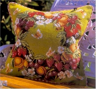 Strawberry Wreath Cushion Needlepoint Kit by Glorafilia (gl5017)
