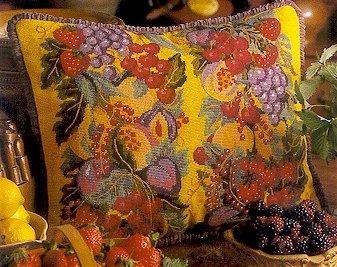 Abundance of Fruit Yellow Cushion Needlepoint Kit by Glorafilia (gl4011)