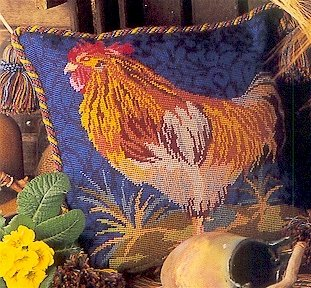 Cockerel Cushion Needlepoint Kit by Glorafilia (gl4135)