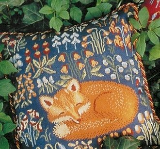 Medieval Fox Blue Needlepoint Kit (glcr06b)