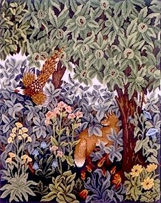 GREENERY FOX & PHEASANT Needlepoint CANVAS Beth Russell William Morris