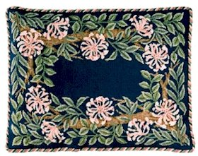 HONEYSUCKLE Border Blue background Needlepoint CANVAS Beth Russell William Morris