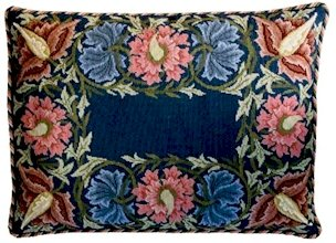 FLOWER BORDER Blue background Needlepoint CANVAS Beth Russell William Morris