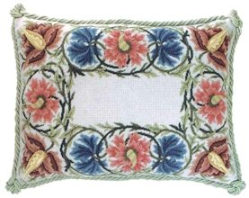 FLOWER BORDER Grey background Needlepoint CANVAS Beth Russell William Morris