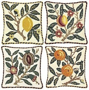 FRUIT - Set of four Needlepoint CANVASES Beth Russell William Morris