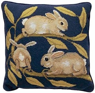 RABBITS Needlepoint CANVAS Beth Russell William de Morgan