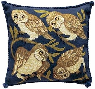 OWLS Needlepoint CANVAS Beth Russell William de Morgan