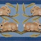 RABBITS RUG Needlepoint CANVAS Beth Russell William de Morgan