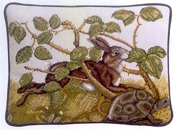 HARE & TORTOISE Cushion Needlepoint CANVAS Beth Russell