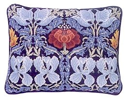 TULIP & ROSE Blue Cushion Needlepoint CANVAS Beth Russell William Morris