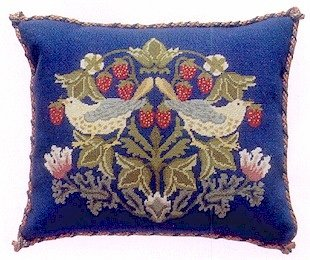 STRAWBERRY THIEF 2 Cushion Needlepoint CANVAS Beth Russell William Morris