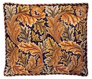 ACANTHUS LEAVES Gold Cushion Needlepoint CANVAS Beth Russell William Morris