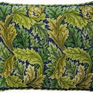ACANTHUS LEAVES Green Cushion Needlepoint CANVAS Beth Russell William Morris