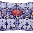 TULIP & ROSE Blue Cushion Needlepoint KIT Beth Russell William Morris