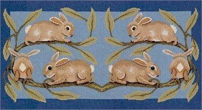RABBITS RUG Needlepoint KIT Beth Russell William de Morgan