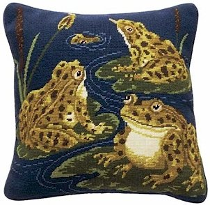 FROGS Needlepoint KIT Beth Russell William de Morgan