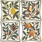 FRUIT - Set of four Needlepoint KITS Beth Russell William Morris