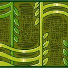 Collage Greens Needlepoint Canvas (ab1-9)