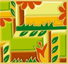 Collage Leaves & Flowers Needlepoint Canvas (ab1-19)