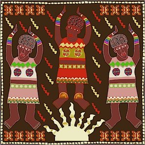 Sun Song African Folk Art Needlepoint Canvas (af1-1)