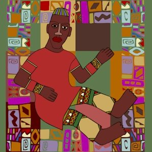 Man African Folk Art Needlepoint Canvas (af1-5)