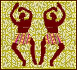 Dancing Men African Folk Art Needlepoint Canvas (af1-9)