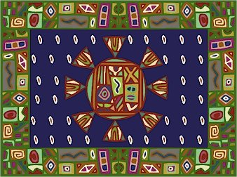 Carpet African Folk Art Needlepoint Canvas (af1-2)