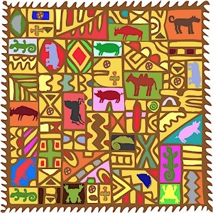 Collage African Folk Art Needlepoint Canvas (af1-16)