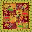 Collage Cushion African Folk Art Needlepoint Canvas (af1-17)