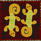 Lizards African Folk Art Needlepoint Canvas (af1-10)