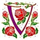 Initial Letter V Style Rosette Needlepoint Canvas (ar7-ros-v)